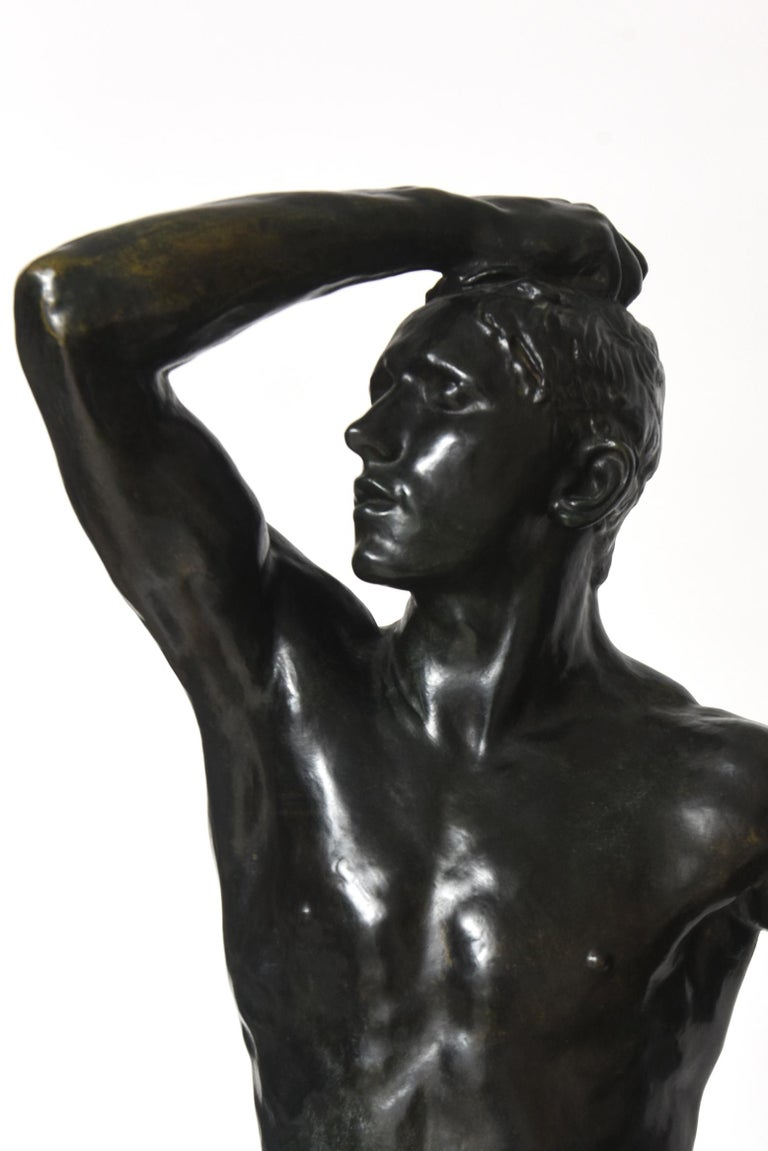 After Auguste Rodin Bronze Sculpture of the Age of Bronze Male Nude Figure For Sale 5