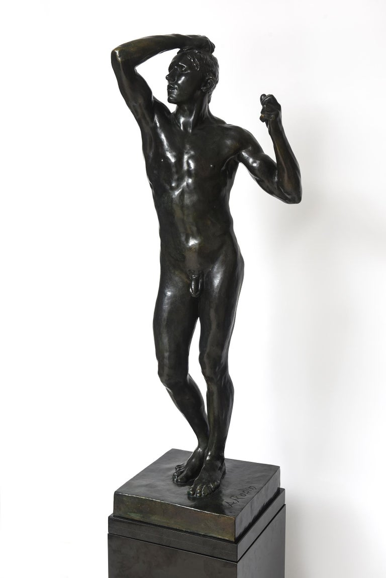 Cast After Auguste Rodin Bronze Sculpture of the Age of Bronze Male Nude Figure For Sale
