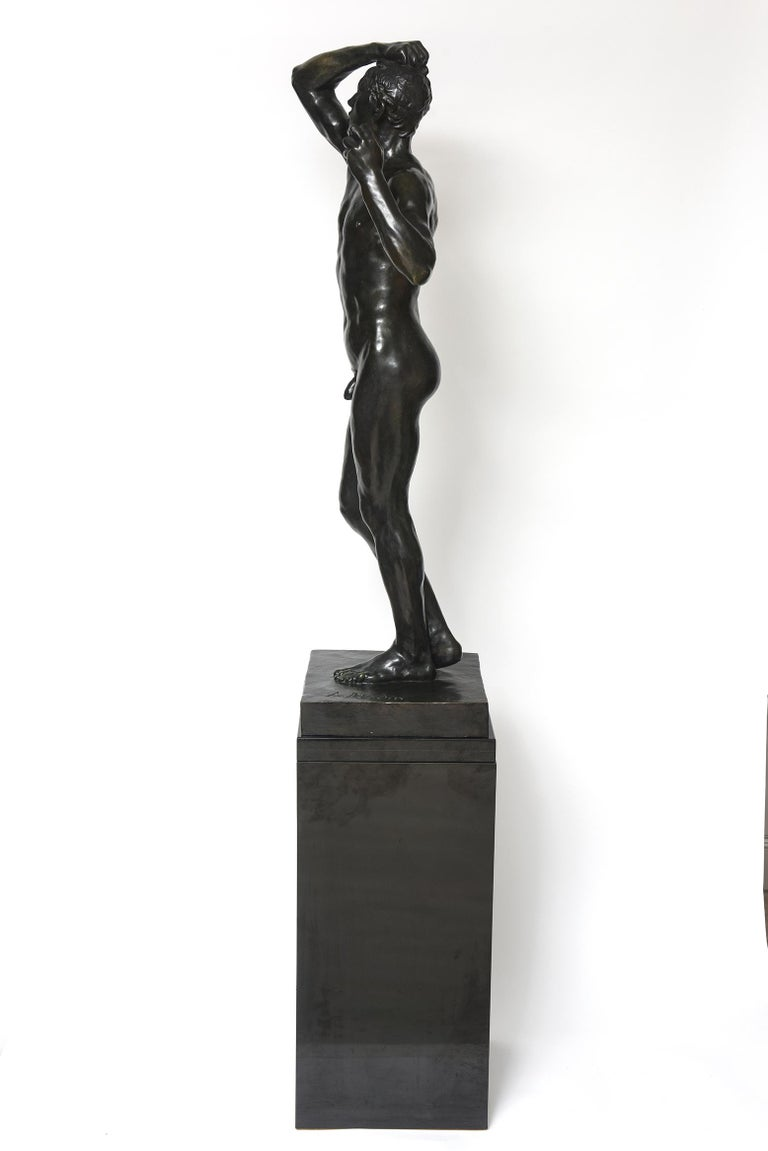Late 20th Century After Auguste Rodin Bronze Sculpture of the Age of Bronze Male Nude Figure For Sale