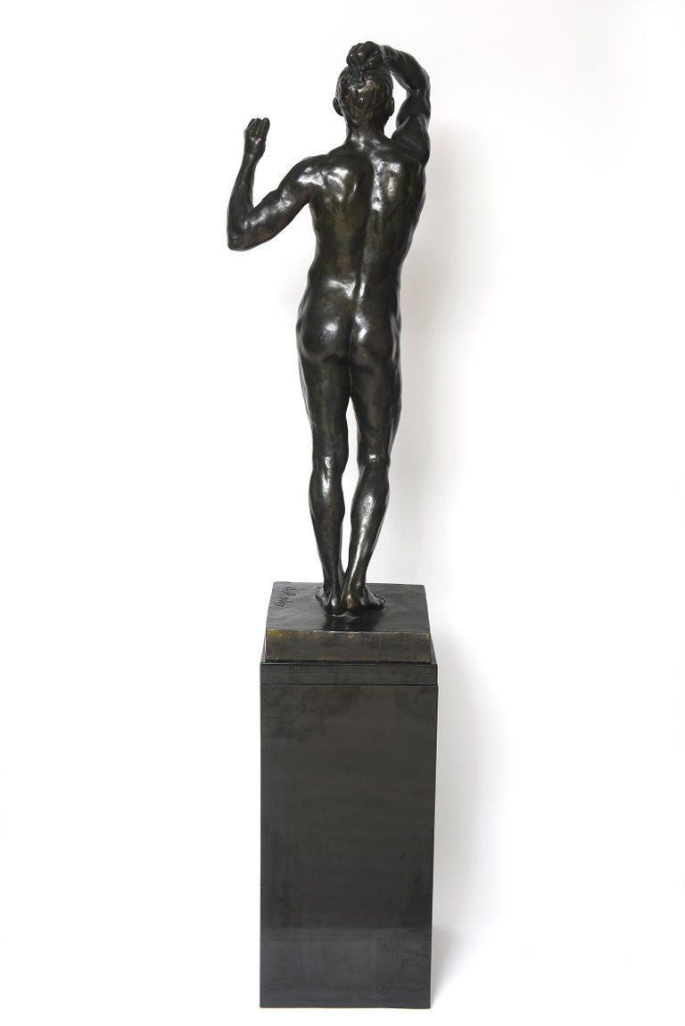 After Auguste Rodin Bronze Sculpture of the Age of Bronze Male Nude Figure For Sale 1