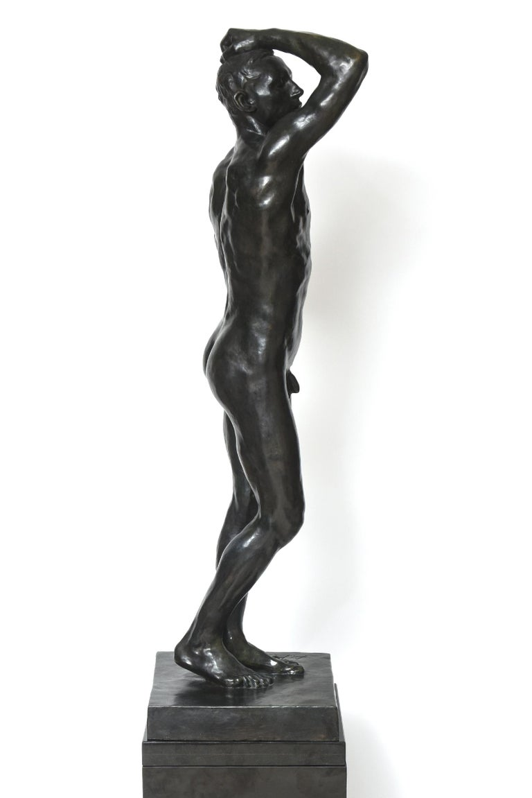 After Auguste Rodin Bronze Sculpture of the Age of Bronze Male Nude Figure For Sale 2