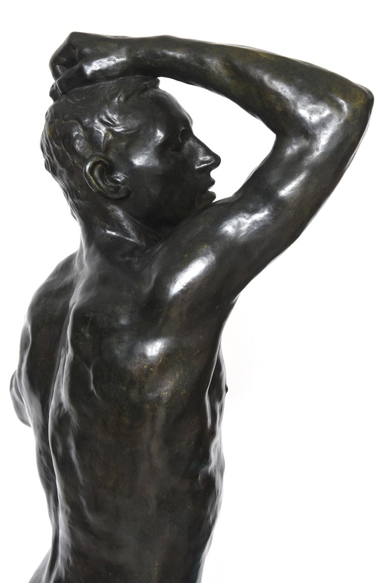 After Auguste Rodin Bronze Sculpture of the Age of Bronze Male Nude Figure For Sale 3