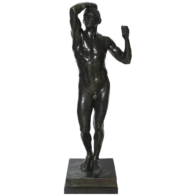 After Auguste Rodin Bronze Sculpture of the Age of Bronze Male Nude Figure For Sale