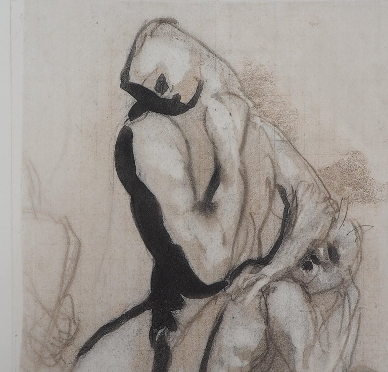 Men's Group (Le Penseur) - Etching, 1897 - Gray Figurative Print by (after) Auguste Rodin