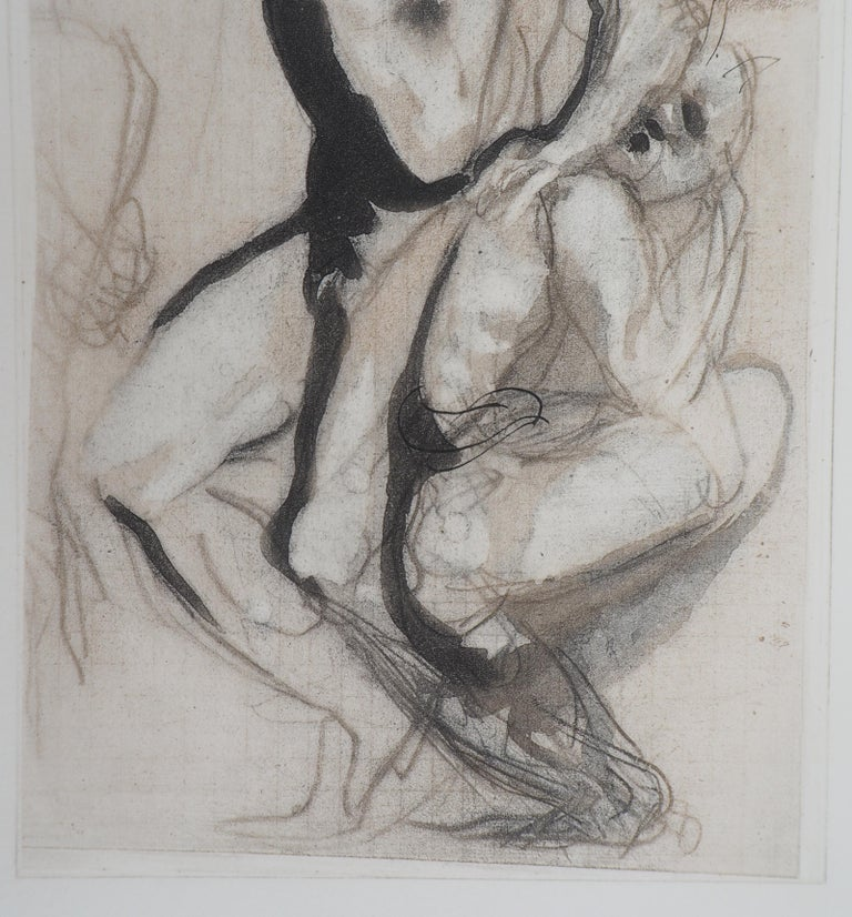 Auguste RODIN (after) Men's group, 1897  Etching enhanced with watercolor On vellum 42.5 x 31 cm (c. 16.7 x 12.2 inches) Edition limited to 125 copies, send with the certificate of authenticity and a photocopy of the justification of the