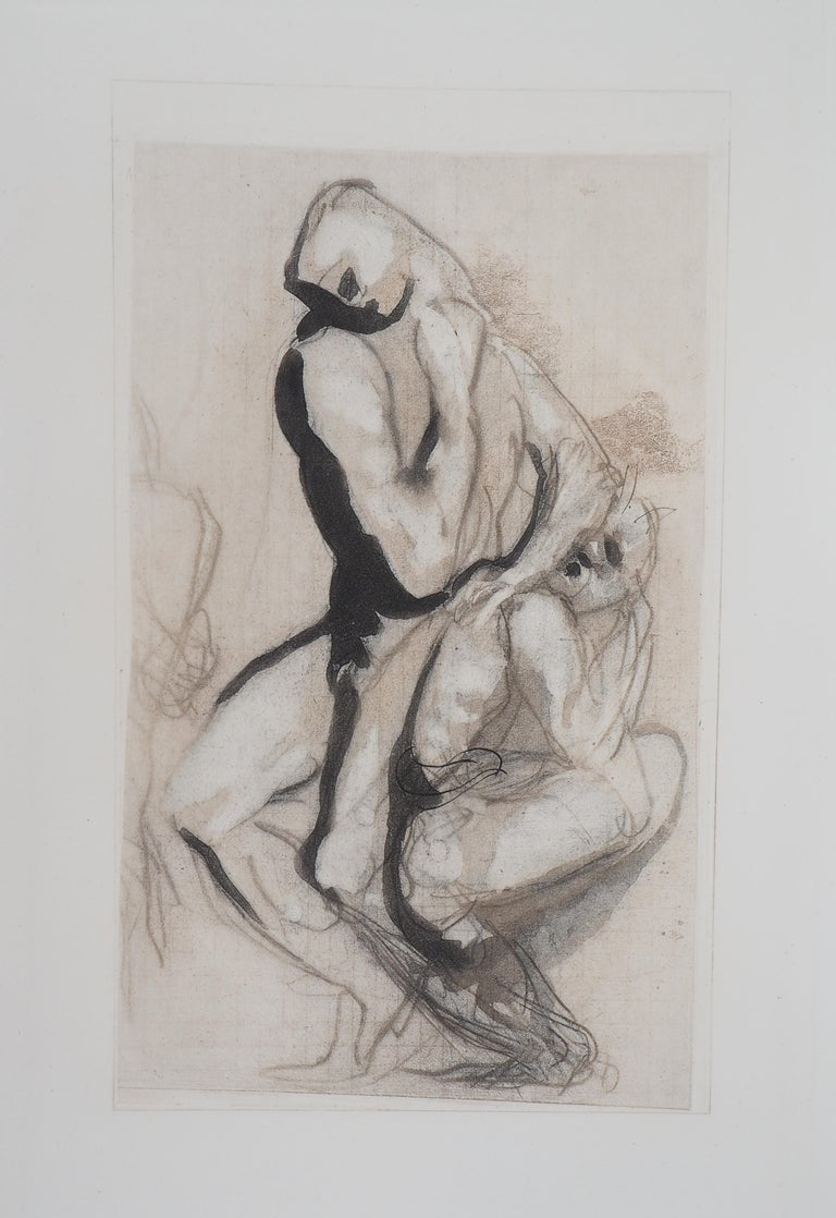(after) Auguste Rodin Figurative Print - Men's Group (Le Penseur) - Etching, 1897