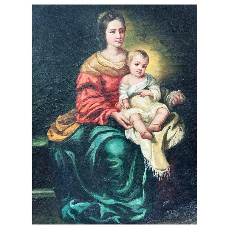 """After Bartolomé Esteban Murillo """"Virgin and Child"""" 17th Century Style For Sale"""