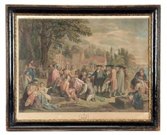 "Hand Colored Engraving ""William Penn's Treaty with the Indians"" after Ben West"