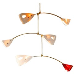 Illuminated Sculpture Murano Glass Brass Mobile Chandelier, Ivory