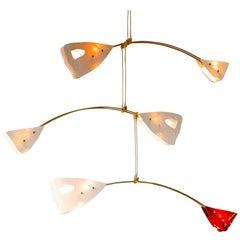 CINETICO Illuminated Sculpture Murano Glass Brass Mobile Chandelier, Ivory