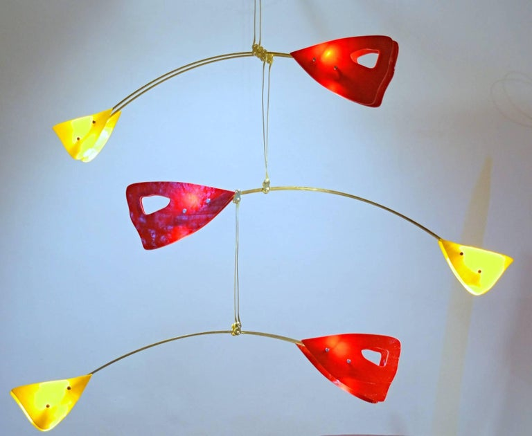 Murano Glass Brass Mobile Chandelier Red and Yellow Glass Elements For Sale 7