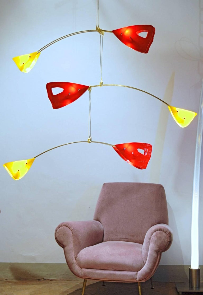 Murano Glass Brass Mobile Chandelier Red and Yellow Glass Elements For Sale 8