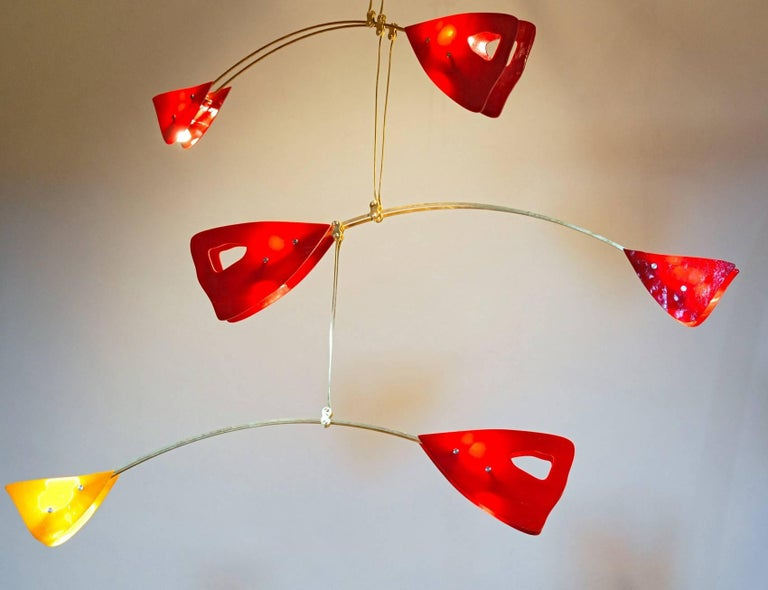 Mid-Century Modern Murano Glass Brass Mobile Chandelier Red and Yellow Glass Elements For Sale