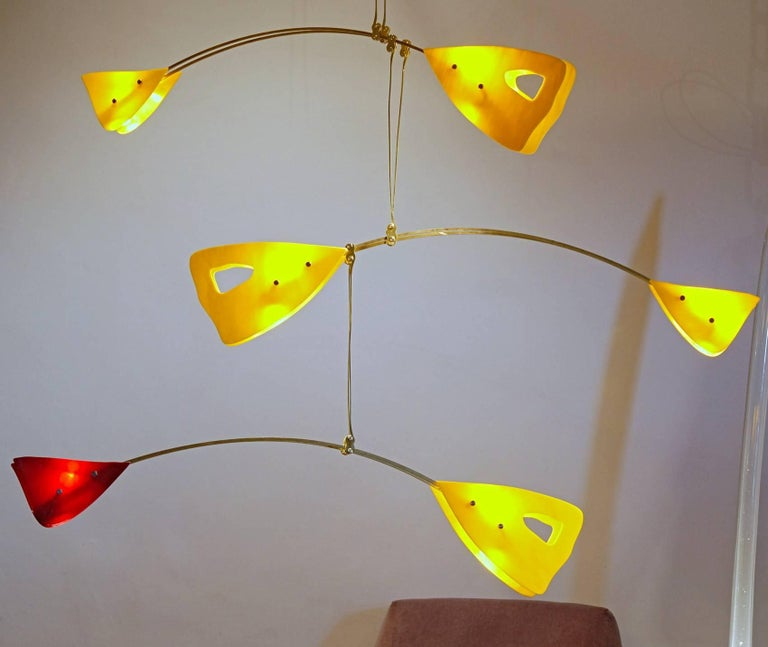 Contemporary Murano Glass Brass Mobile Chandelier Red and Yellow Glass Elements For Sale