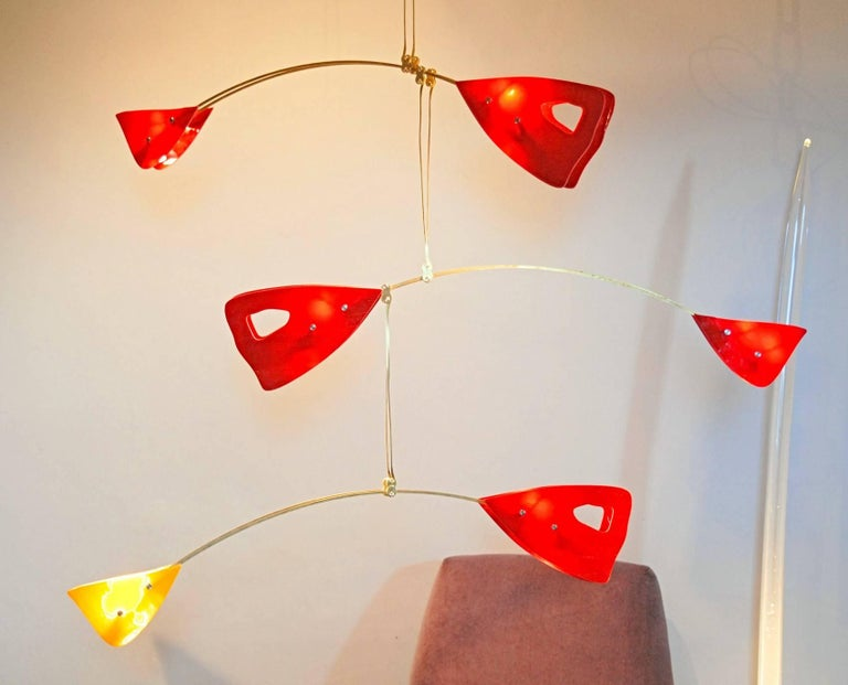 Art Glass Murano Glass Brass Mobile Chandelier Red and Yellow Glass Elements For Sale