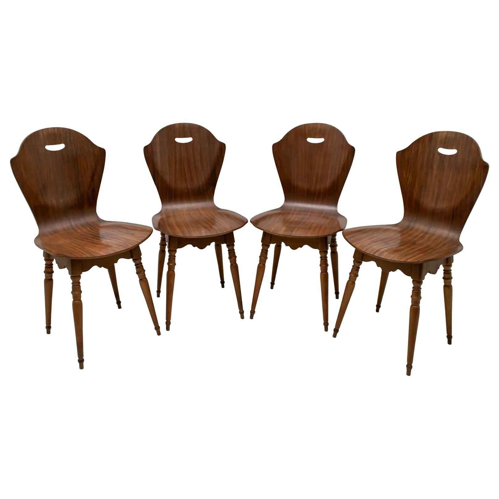 After Carlo Ratti Mid-Century Modern Italian Bentwood Chairs, 1950s