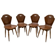 After Carlo Ratti Mid-Century Modern Italian Bentwood Chairs, 1950s