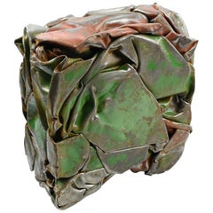 After Cesar Baldaccini French Abstract Metal Sculpture Compression