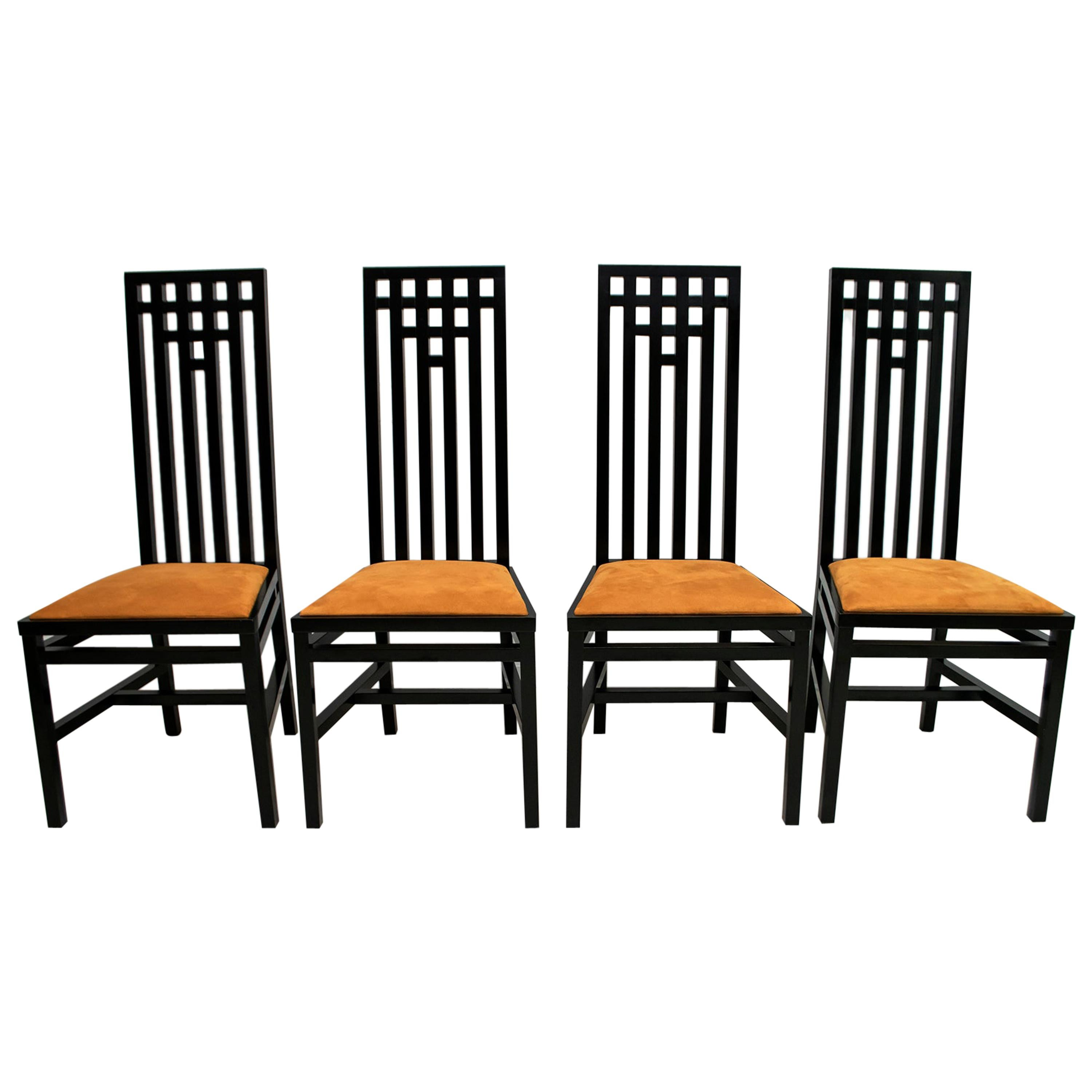 After Charles Rennie Mackintosh 4 Black Lacquered High-Backed Chairs, 1979