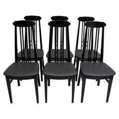 After Charles Rennie Mackintosh 6 Black Lacquered High-Backed Chairs, 1979