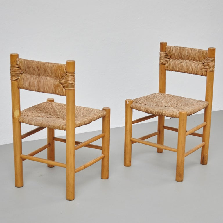 After Charlotte Perriand Mid-Century Modern Rattan Pair of Chairs, circa 1950 6
