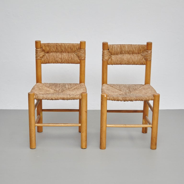French After Charlotte Perriand Mid-Century Modern Rattan Pair of Chairs, circa 1950
