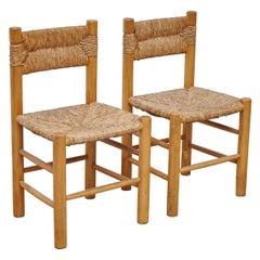 After Charlotte Perriand Mid-Century Modern Rattan Pair of Chairs, circa 1950