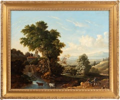 An Old Master style landscape with figures resting by a riverside with cattle