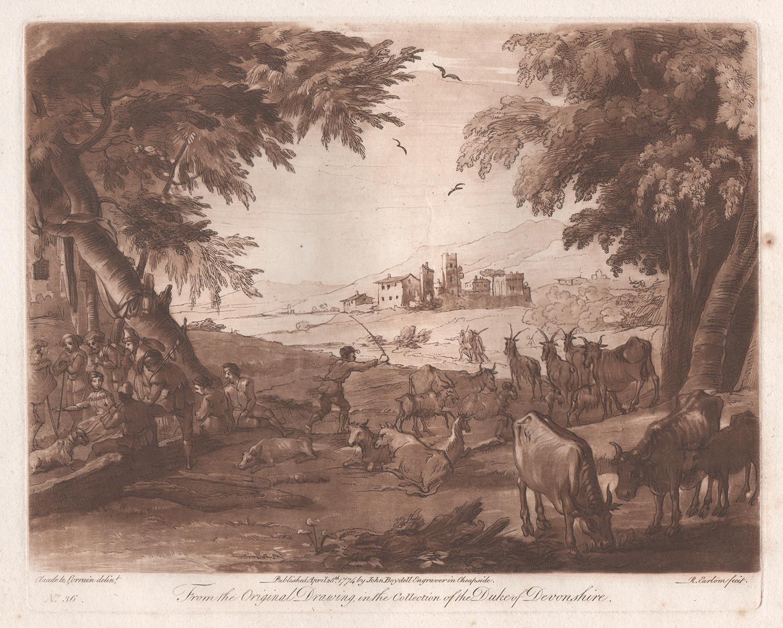 Italianate Landscape, mezzotint by Richard Earlom after Claude le Lorrain