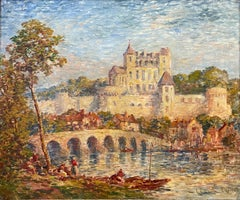 Very Large Antique French Impressionist Painting after Claude Monet Figures Town