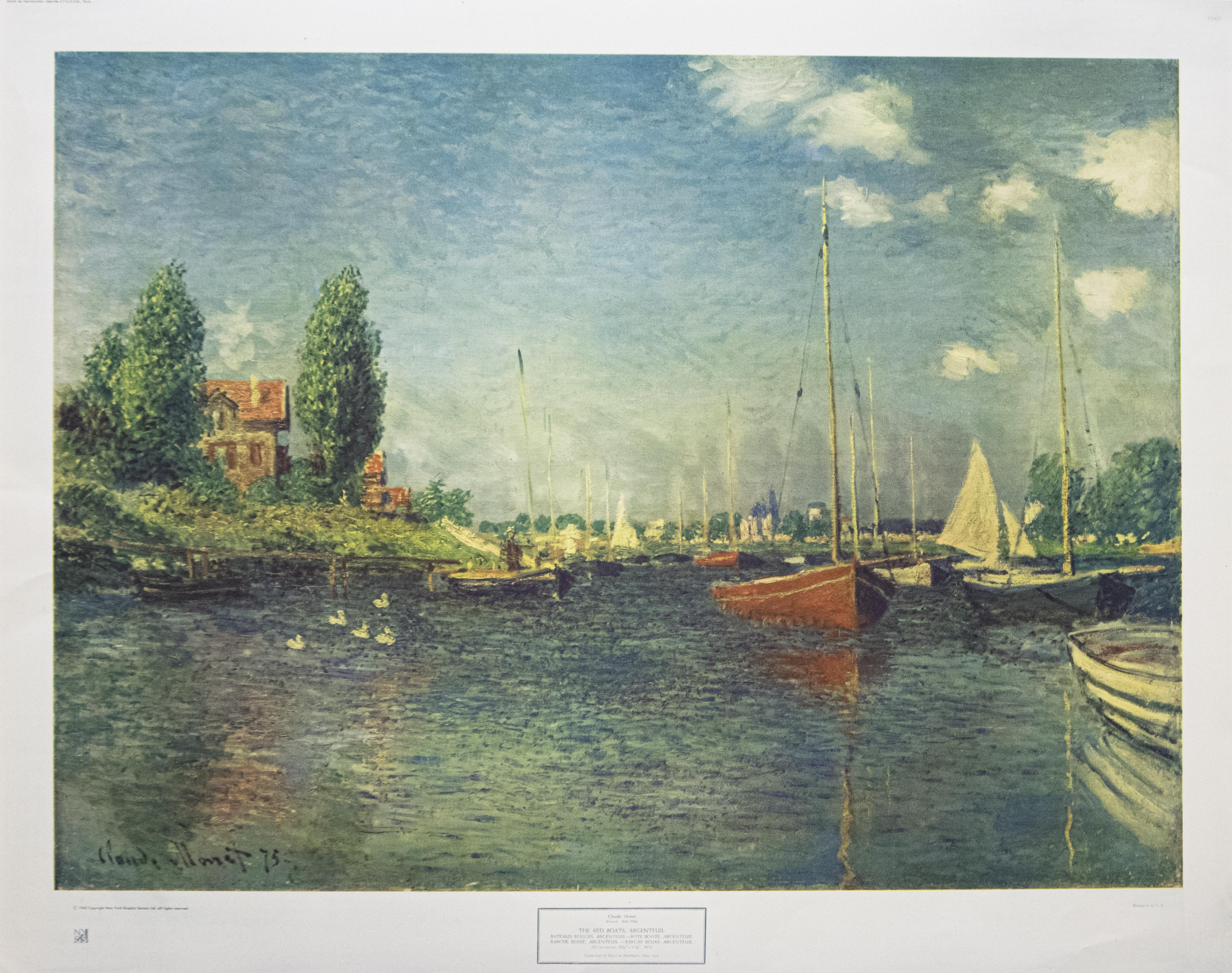 """""""The Red Boats, Argenteuil"""" After Claude Monet. New York Graphic Society, 1943."""