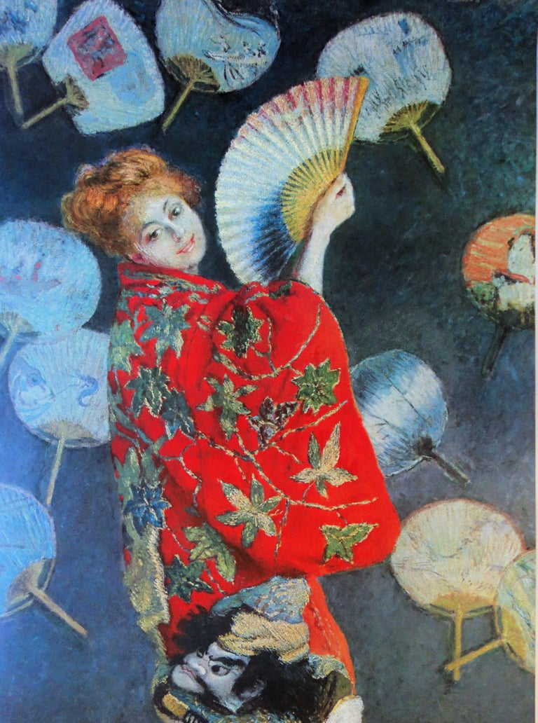 Claude Monet (after) Woman with the Fan  Exhibition poster printed in offset, with some color in lithograph and metallic ink Signature printed in the plate 119 x 84 cm (c. 48 x 34 inch) Edited in 1972 for the cultural events organized during The