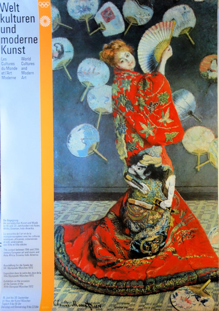 (after) Claude Monet Figurative Print - Woman with the Fan - Vintage exhibition poster - 1972