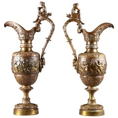 After Clodion, Bronze Decorative Vases with Mythological Depiction of Bacchus