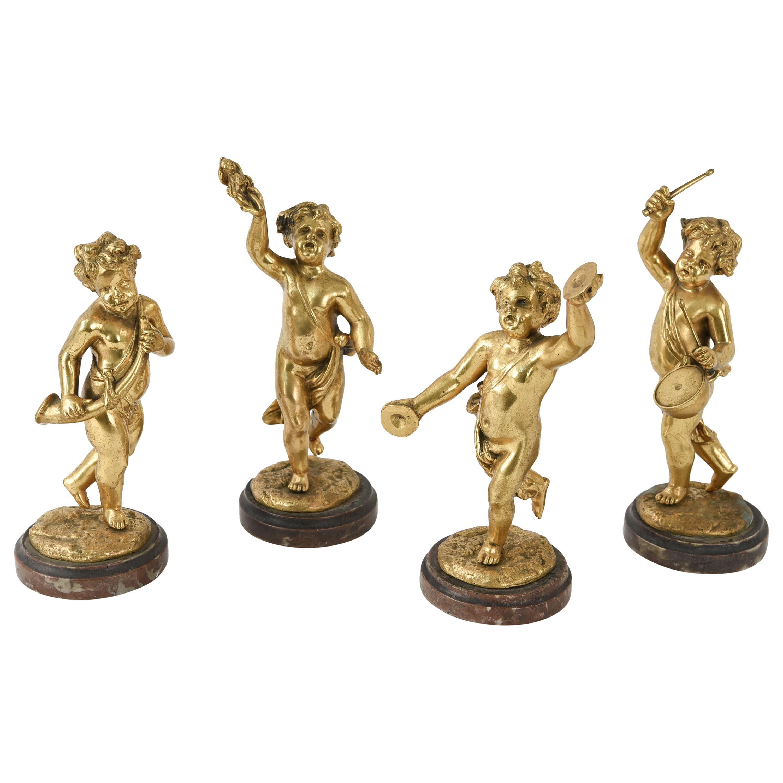 After Clodion Gilt Bronze Cherub Sculptures