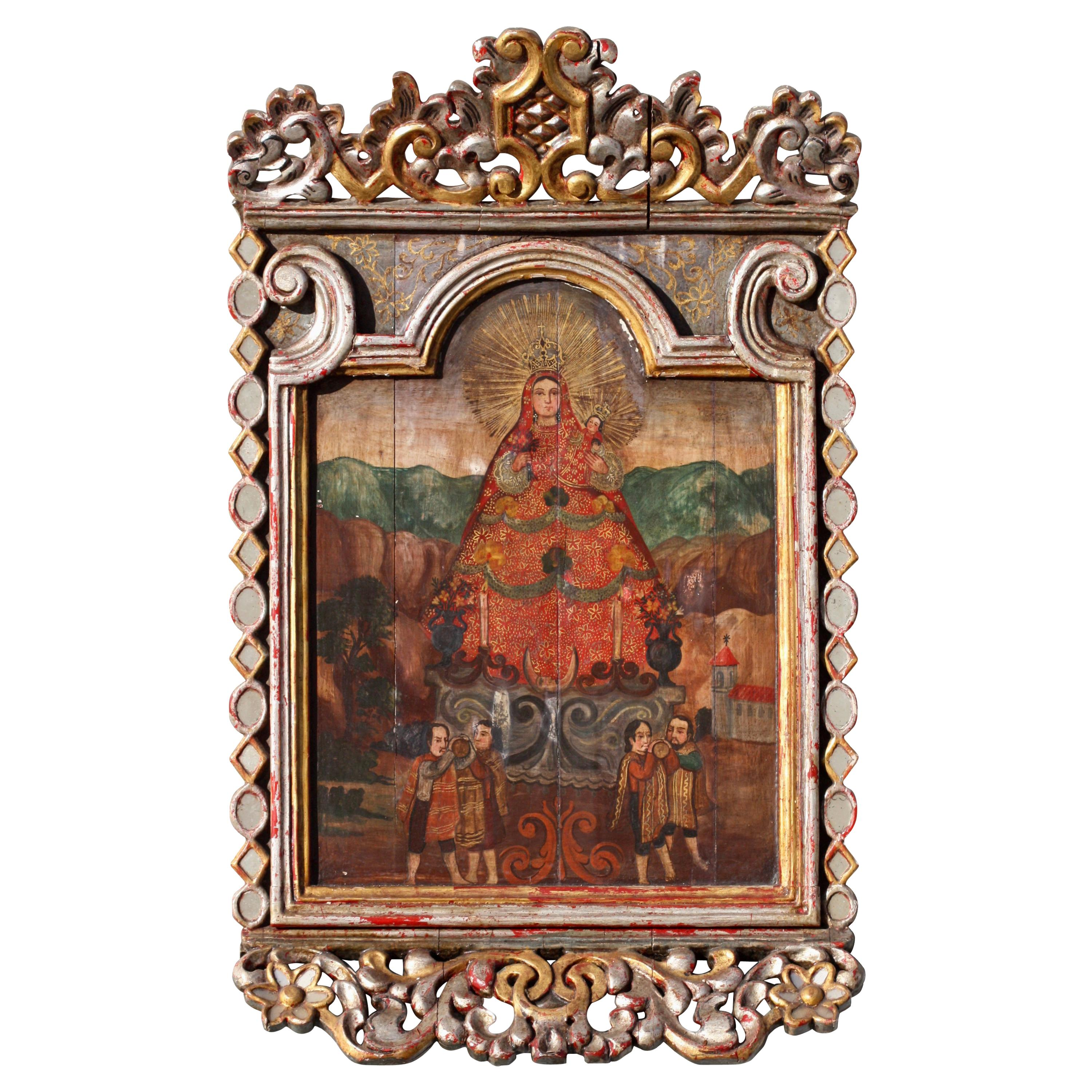 After Cristóbal De Hernández Quintana La Virgen Painting Oil/Panel