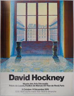 David Hockney at Louvre Museum (Paris) - Original Vintage Poster