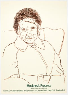 David Hockney portrait drawing vintage Exhibition poster Graves Art Gallery '80
