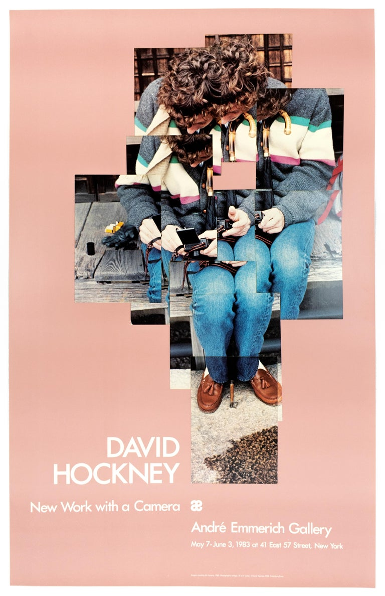 (after) David Hockney Figurative Photograph - Exhibition Poster Gregory Loading His Camera 1983 in vintage millennial pink