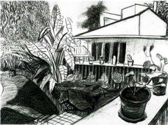 Garden View from Office - Framed Print