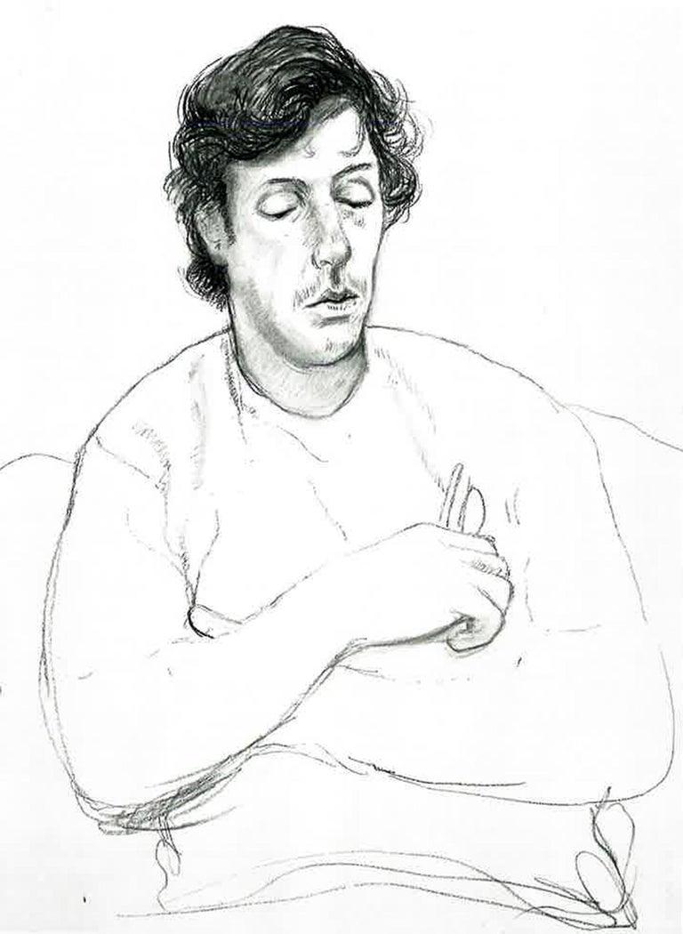 Gregory holding his Glasses, October 22 - Framed Print - David Hockney - Photograph by (after) David Hockney