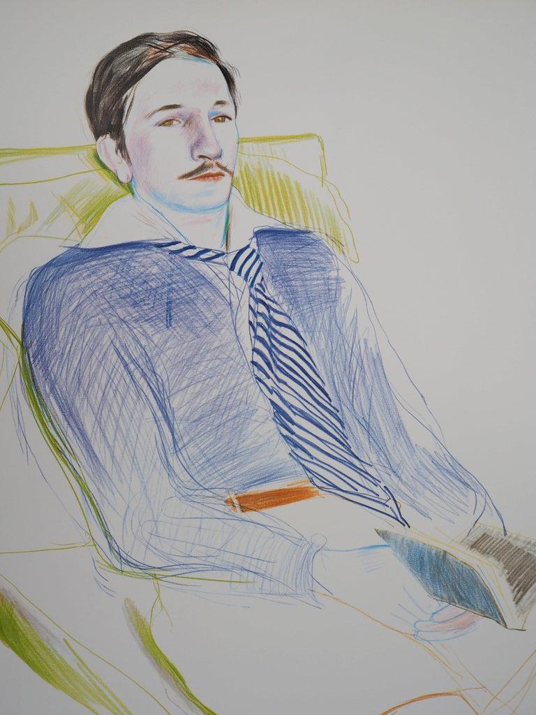 Portrait of Reading Man - Original Vintage Poster (1975) - Print by (after) David Hockney