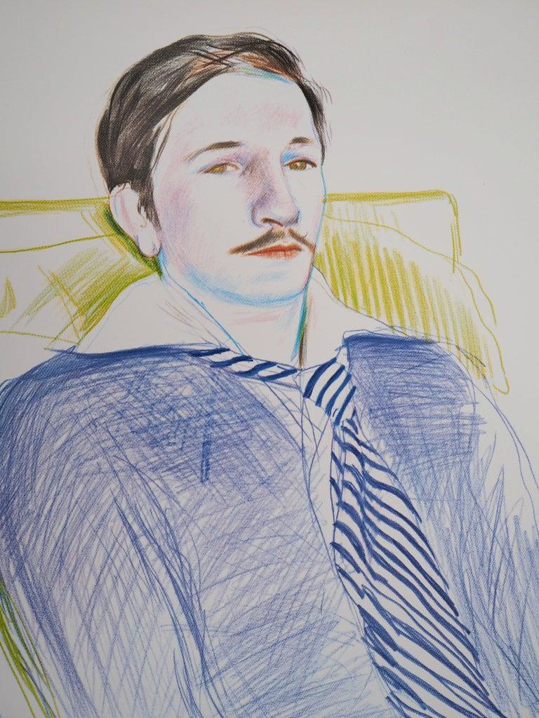 Portrait of Reading Man - Original Vintage Poster (1975) - American Modern Print by (after) David Hockney