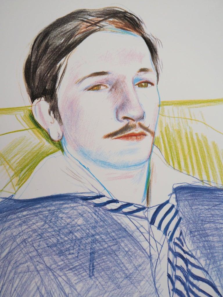 Portrait of Reading Man - Original Vintage Poster (1975) - Gray Portrait Print by (after) David Hockney