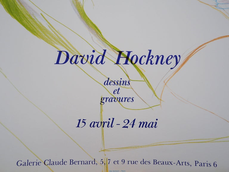 David HOCKNEY Portrait of Reading Man  Original Vintage Poster (offset-lithograph) Printed in France by Imprimerie Dermont in Paris 64 x 45 cm (c. 25.1 x 17.7 inch) This poster was created for the exhibition