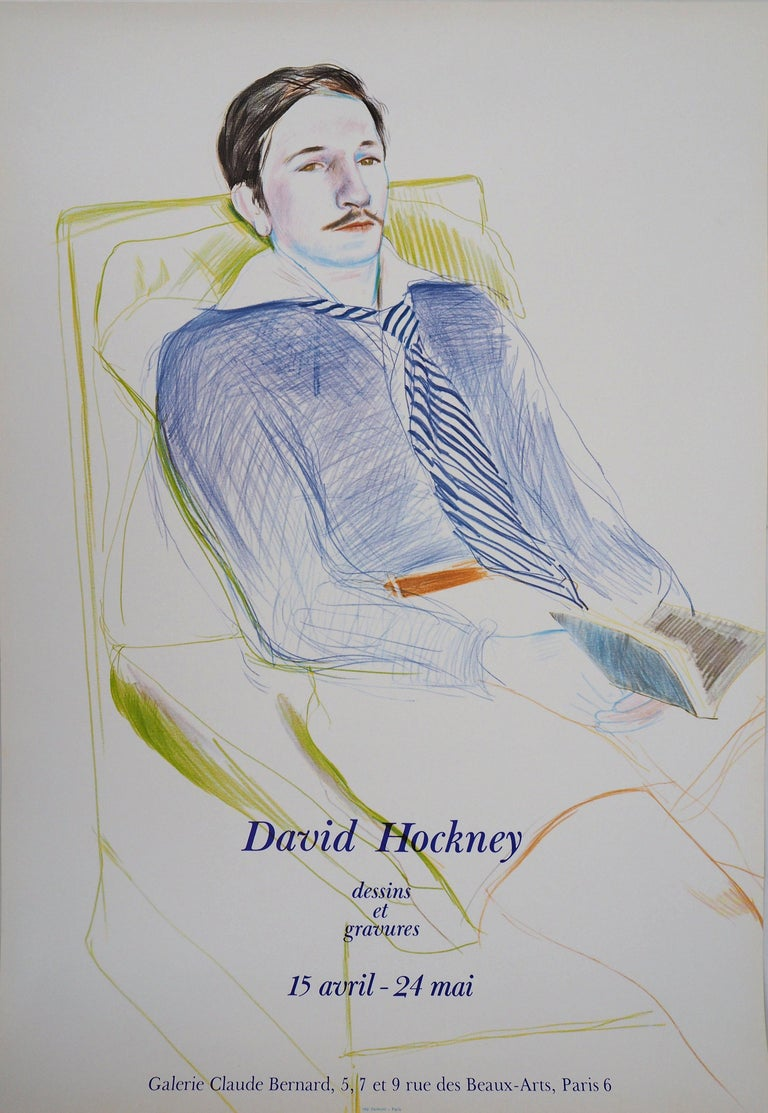 Portrait of Reading Man - Original Vintage Poster (1975) For Sale 1