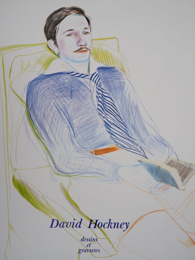 (after) David Hockney Portrait Print - Portrait of Reading Man - Original Vintage Poster (1975)
