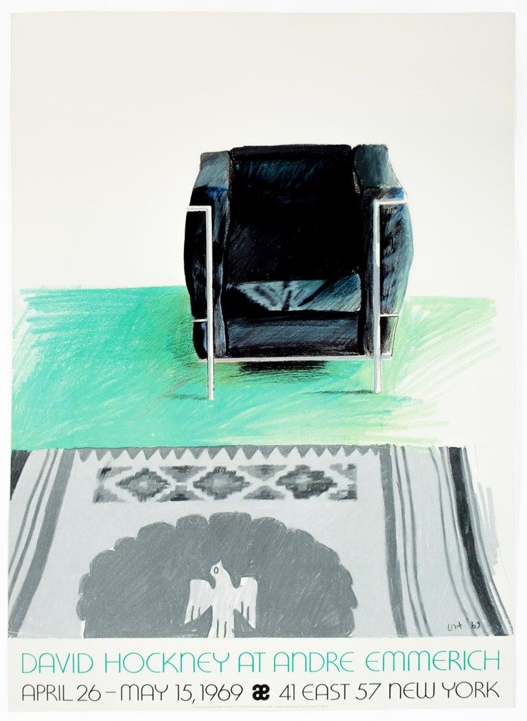 (after) David Hockney Figurative Print - Vintage turquoise '69 David Hockney Exhibition Poster Kilim southwest rug