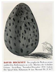 Vintage David Hockney Poster Galerie der Spiegel 1970 (Boy in an Egg) with bird