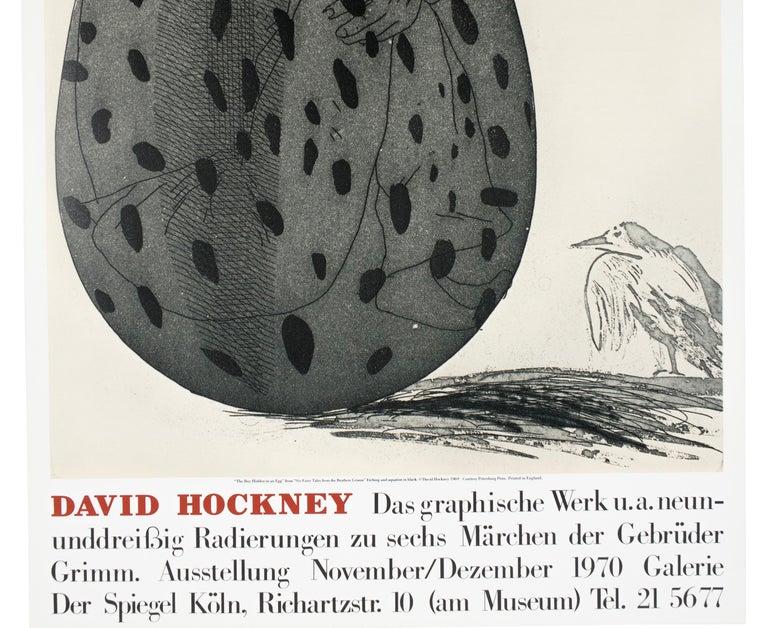 Vintage David Hockney Poster Galerie der Spiegel 1970 (Boy in an Egg) with bird  - Realist Print by David Hockney